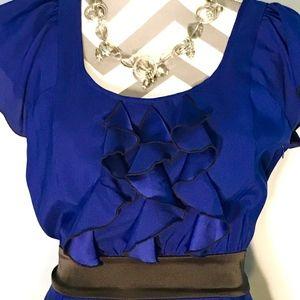 Cobalt Blue and Black Express Dress with Ruffles